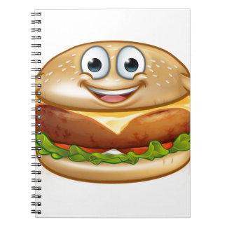 Burger Food Mascot Cartoon Character Notebooks