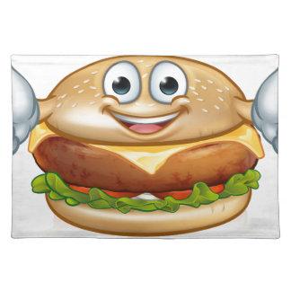 Burger Food Mascot Cartoon Character Placemat