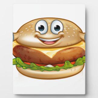 Burger Food Mascot Cartoon Character Plaque