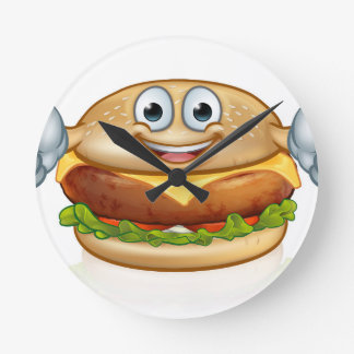 Burger Food Mascot Cartoon Character Round Clock