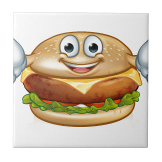 Burger Food Mascot Cartoon Character Tile