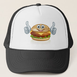 Burger Food Mascot Cartoon Character Trucker Hat