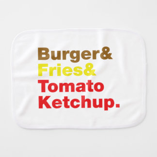 Burger & Fries & Tomato Ketchup. Baby Burp Cloths