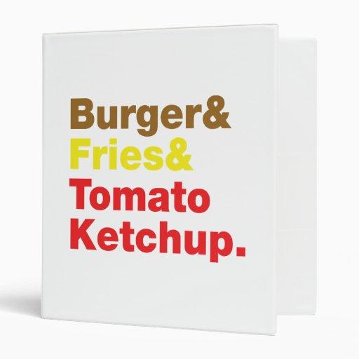 Burger & Fries & Tomato Ketchup. Binders