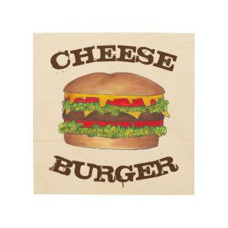 Burger Hamburger Cheeseburger Foodie Kitchen Diner Wood Wall Art