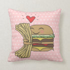 Burger Loves Fries Throw Pillow