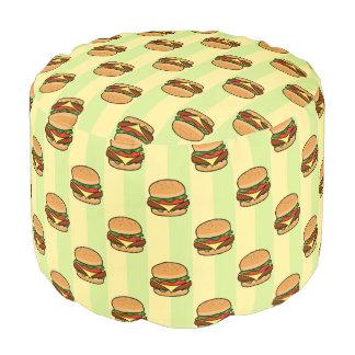 Burger Pattern Pouf