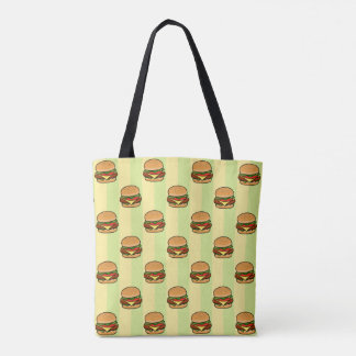 Burger Pattern Tote Bag