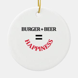 Burger Plus Beer Equals Happiness Ceramic Ornament