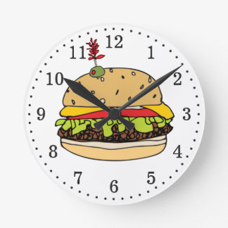 Burger Time Round Clock