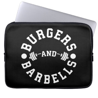 Burgers and Barbells - Funny Workout Motivational Laptop Sleeve