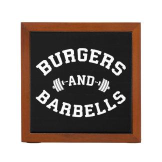 Burgers and Barbells - Lifting Workout Motivation Desk Organizer