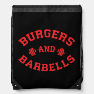 Burgers and Barbells - Lifting Workout Motivation Drawstring Bag