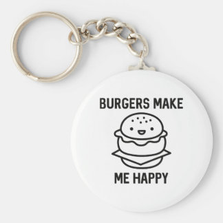 Burgers Make Me Happy Basic Round Button Keychain