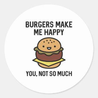 Burgers Make Me Happy Classic Round Sticker