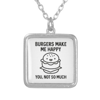 Burgers Make Me Happy Silver Plated Necklace