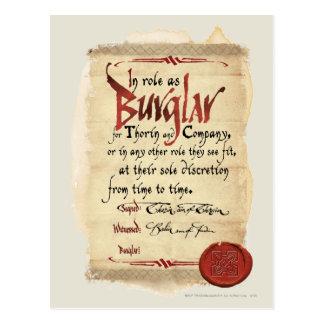 Burglar Contract Postcard