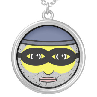 Burglar Face Silver Plated Necklace