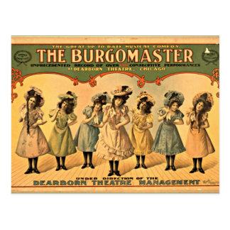 Burgomaster vintage theater poster postcard