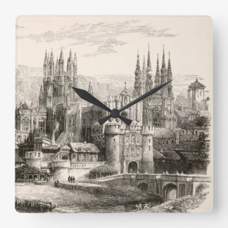 Burgos Cathedral Spain Castle Gothic Spire Vintage Clock