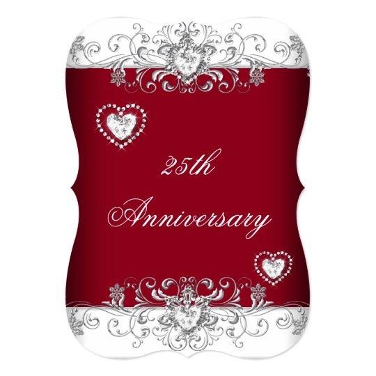 Burgundy 25th Wedding Anniversary Diamond Hearts Card