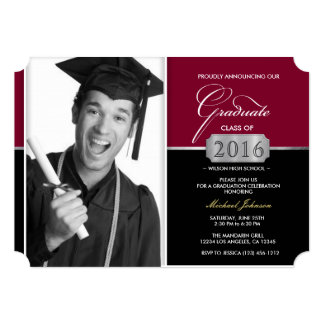 Burgundy and Black Modern Class of 2016 Graduation Card