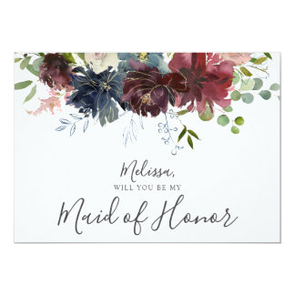 Burgundy and Blue Floral Be My Maid of Honour Card