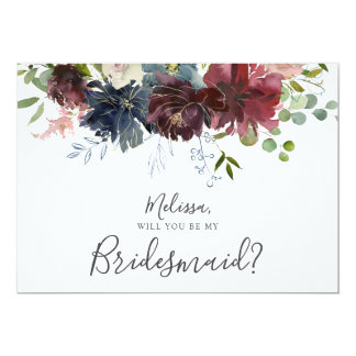 Burgundy and Blue Floral Will You Be My Bridesmaid Card