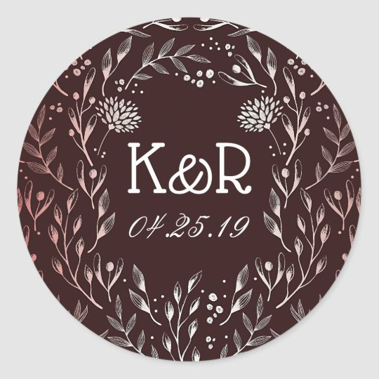 Burgundy and Blush Elegant Floral Wreath Classic Round Sticker