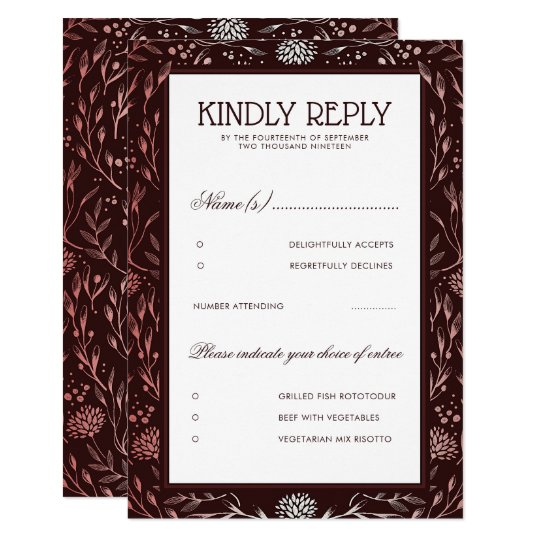 Burgundy and Blush Floral Vintage Wedding RSVP Card