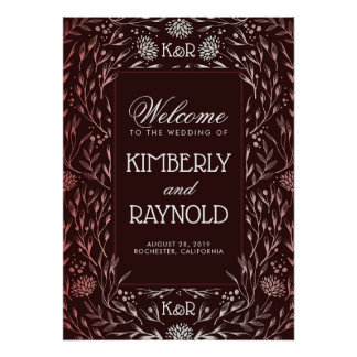 Burgundy and Blush Floral Wedding Welcome Sign