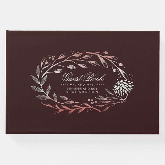 Burgundy and Blush Floral Wreath Wedding Guest Book
