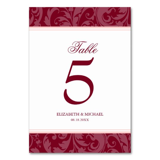 Burgundy and Blush Pink Damask Swirl Wedding Card
