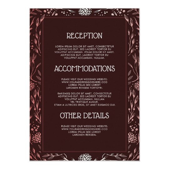 Burgundy and Blush Wedding Information Guest Card