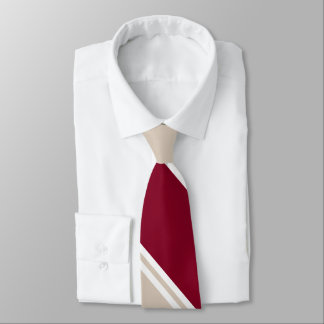Burgundy and Champagne-Colored Diagonally-Striped Tie