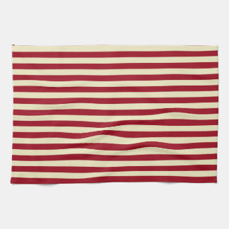Burgundy and Cream Stripes Kitchen Towel