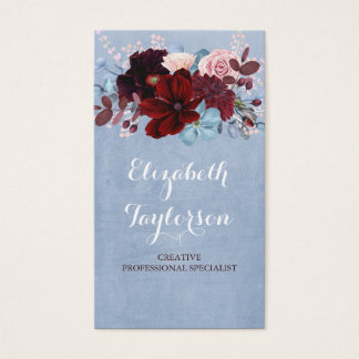 Burgundy and Dusty Blue Floral Watercolor Business Card
