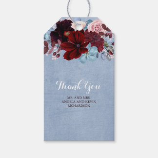 Burgundy and Dusty Blue Floral Wedding Gift Tags