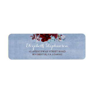 Burgundy and Dusty Blue Wedding Return Address Label