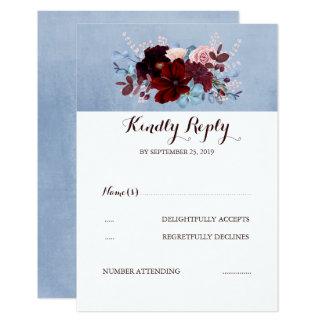 Burgundy and Dusty Blue Wedding RSVP Card