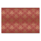 Burgundy And Faux Metallic Gold Floral Damasks 5 Tissue Paper