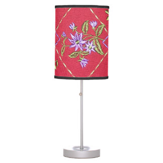 Burgundy and Floral Lamp with Black Trim