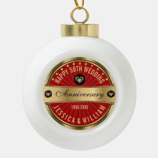Burgundy And Gold 50 Wedding Anniversary Ceramic Ball Ornament