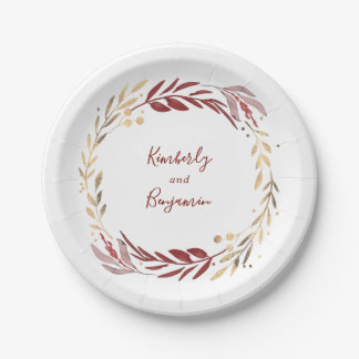 Burgundy and Gold Elegant Garden Wedding Paper Plate