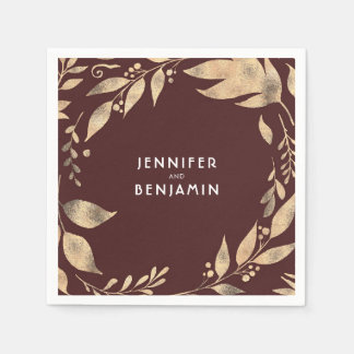 Burgundy and Gold Fall Leaves Elegant Wedding Paper Napkins