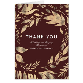 Burgundy and Gold Fall Wedding Thank You Card