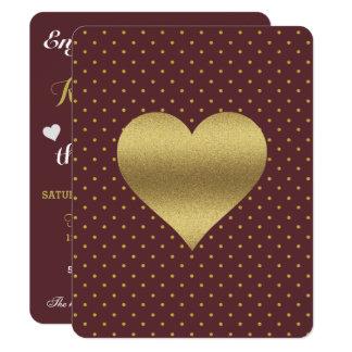 Burgundy And Gold Heart Polka Dot Party Invitation