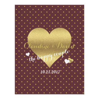 Burgundy And Gold Heart Polka Dot Wedding Flyer