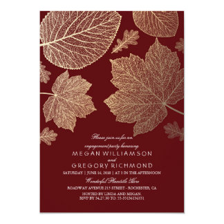 "Burgundy and Gold Leaves Fall Engagement Party 5"" X 7"" Invitation Card"