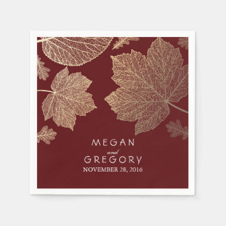 Burgundy and Gold Leaves Fall Wedding Disposable Napkins